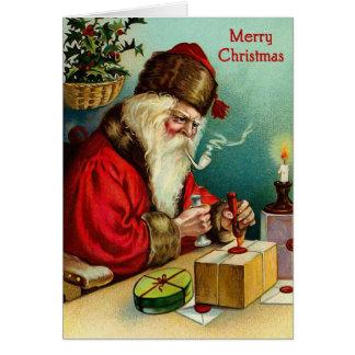サンタの研修会のヴィンテージのクリスマスカード カード