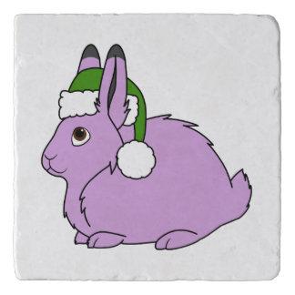サンタの緑の帽子が付いている薄紫の北極ノウサギ トリベット