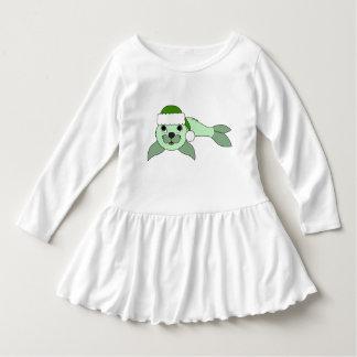サンタの緑の帽子が付いている薄緑の子どものアシカ ドレス