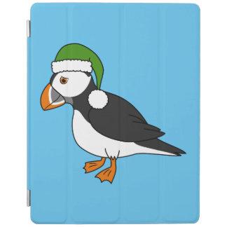 サンタの緑の帽子を持つクリスマスのツノメドリ iPadスマートカバー