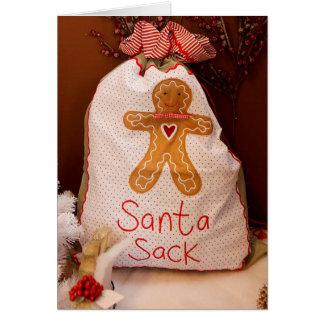 サンタの袋国スタイルのクリスマスカード カード
