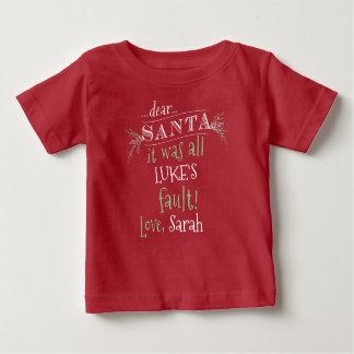 サンタの親愛なカスタムなワイシャツは、名前を加え、カスタマイズ ベビーTシャツ