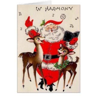 サンタの調和のヴィンテージのクリスマスカード カード