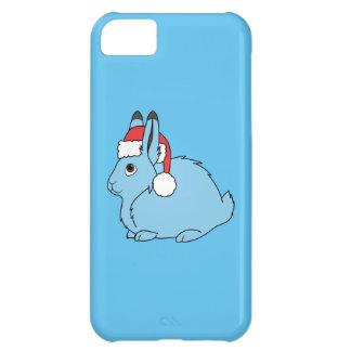 サンタの赤い帽子が付いている淡いブルーの北極ノウサギ iPhone5Cケース