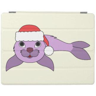 サンタの赤い帽子が付いている薄紫の子どものアシカ iPadスマートカバー