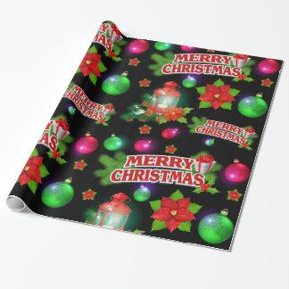 サンタの赤く黒い緑のポインセチアの包装紙 ラッピングペーパー