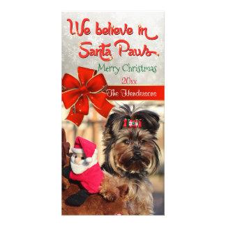 サンタの足の写真で信じて下さい カード