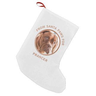 サンタの足犬の写真のクリスマスのストッキングから スモールクリスマスストッキング