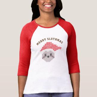サンタの醜い怠惰のメリーなSlothmasのRaglan 3/4の袖 Tシャツ