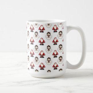 サンタの雪だるまパターン コーヒーマグカップ