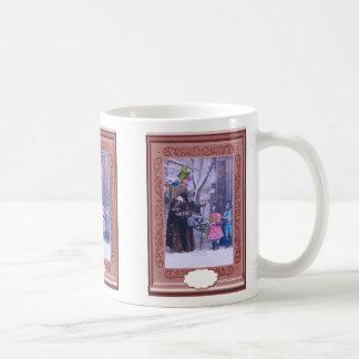 サンタの青い小さな女の子および揺り木馬 コーヒーマグカップ