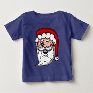 サンタの頭部をまばたきさせる漫画 ベビーTシャツ