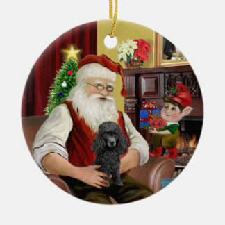 サンタの黒いおもちゃか分のプードル セラミックオーナメント