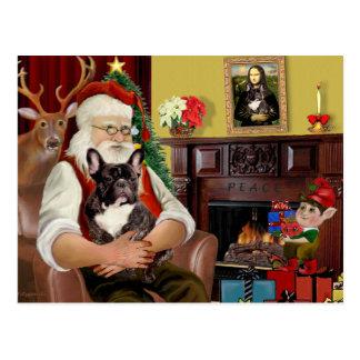 サンタのBrindleフレンチ・ブルドッグ ポストカード