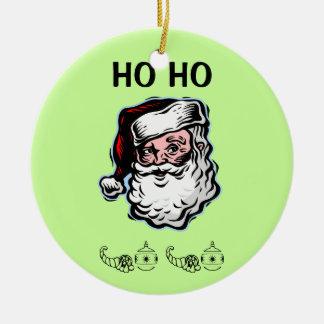 サンタのHo Hoクリスマスのオーナメント セラミックオーナメント