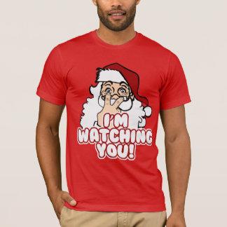 サンタはおもしろいなクリスマスを見ています Tシャツ