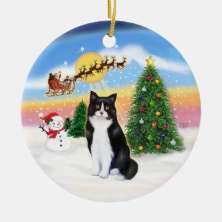 サンタははずします-白黒猫(灰)を セラミックオーナメント