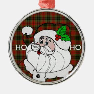 サンタはクリスマスの格子縞で服を着ます メタルオーナメント