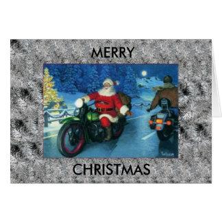サンタはハーレーデイヴィッドソンのクリスマスカードに乗ります カード