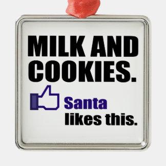 サンタはミルクおよびクッキーを好みます メタルオーナメント