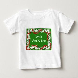 サンタは私を最も最高の好みます ベビーTシャツ