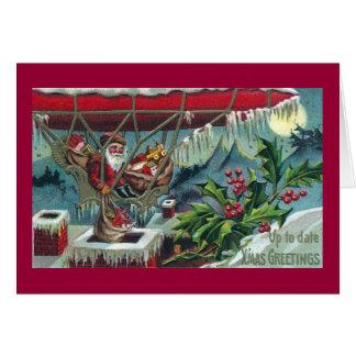 サンタは飛行船から配達をします カード