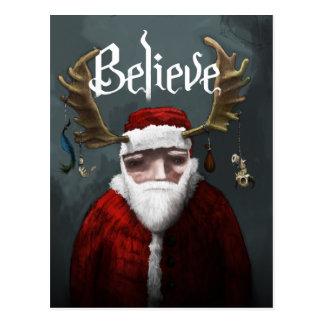 """サンタは""""信じます"""" ポストカード"""