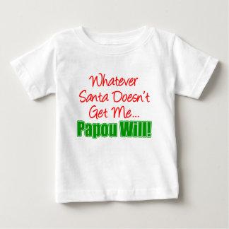サンタはPapou ベビーTシャツ