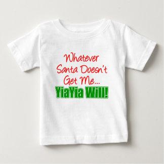 サンタはYiaYia ベビーTシャツ