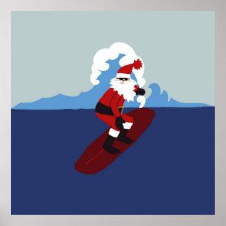 サンタをサーフするポスター! ポスター