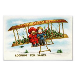 サンタを捜しているヴィンテージのクリスマスの子供 フォトプリント