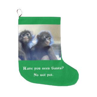 サンタを捜している猿 ラージクリスマスストッキング