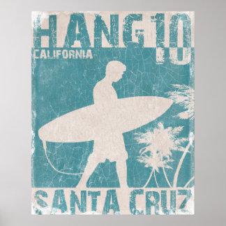 サンタクルスのサーファーのプリントが付いているポスター ポスター