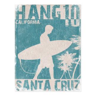 サンタクルスのサーファーのプリントが付いている郵便はがき 葉書き