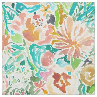 サンタクルスの花のカラフルな水彩画 ファブリック