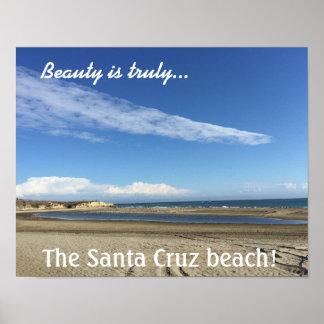 サンタクルスの遊歩道のビーチの眺め ポスター