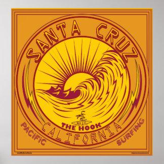サンタクルスカリフォルニアのサーフィン ポスター