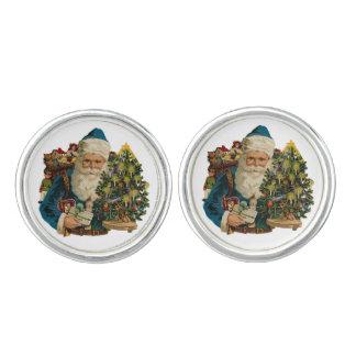 サンタクロースおよびおもちゃの青いカフスボタン カフリンクス
