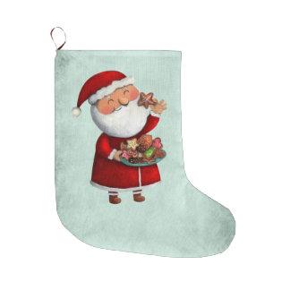 サンタクロースおよびクッキー ラージクリスマスストッキング