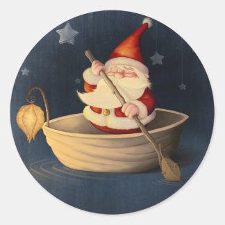 サンタクロースおよびクルミの貝 ラウンドシール