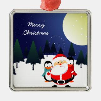 サンタクロースおよびペンギンのクリスマスのかわいいオーナメント メタルオーナメント