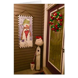 サンタクロースおよびリースカードが付いているクリスマスのドア カード