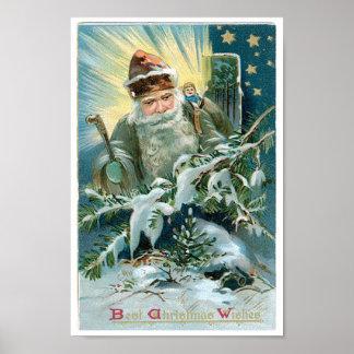 サンタクロースおよび星の美しい絵画 ポスター