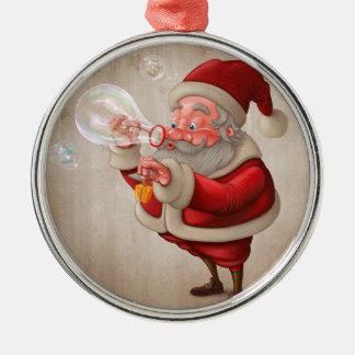サンタクロースおよび泡石鹸 メタルオーナメント
