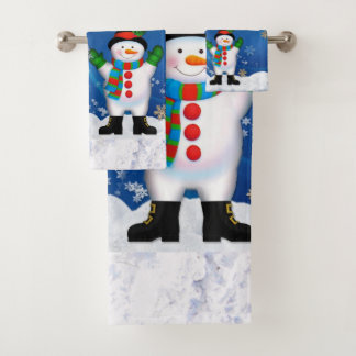 サンタクロースおよび雪だるまの浴室タオルセット バスタオルセット
