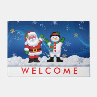 サンタクロースおよび雪だるまの玄関マット ドアマット