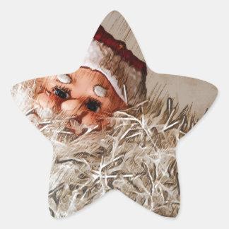 サンタクロースが付いているクリスマスのギフト 星シール