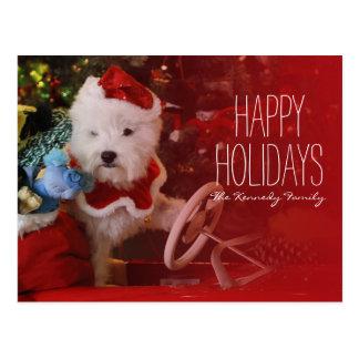 サンタクロースとしてウエスト・ハイランド・ホワイト・テリア犬 ポストカード