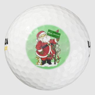 サンタクロースのかわいい動物のメリークリスマス ゴルフボール