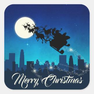 サンタクロースのそりのクリスマス-ステッカー スクエアシール